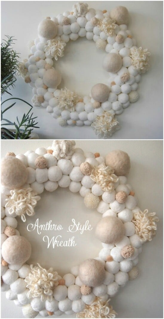 Anthropologie Style Snowball Wreath