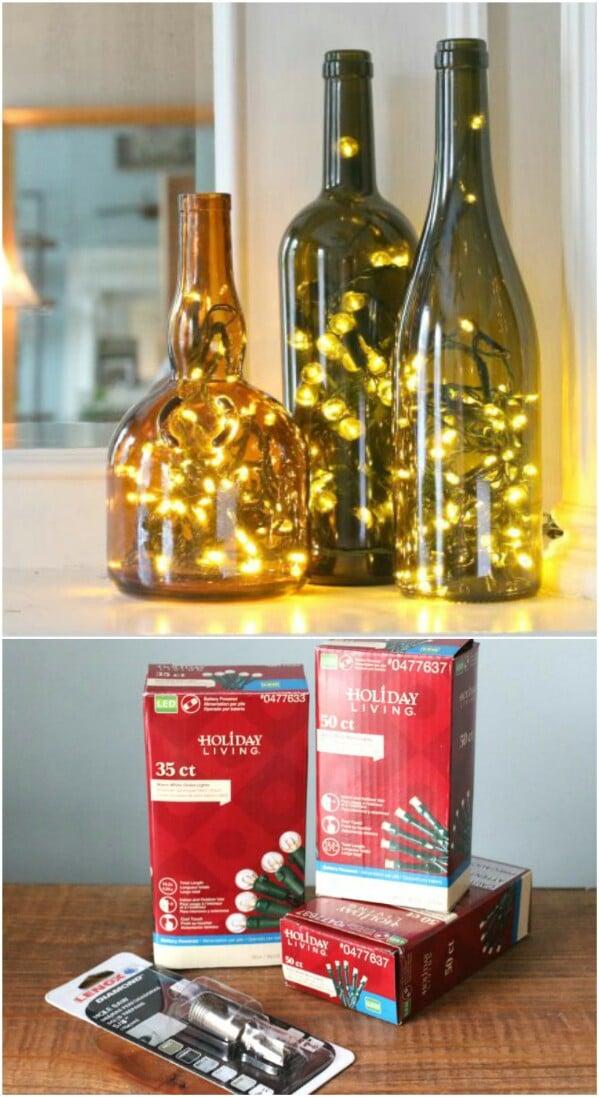 Christmas Wine Bottle Lamps