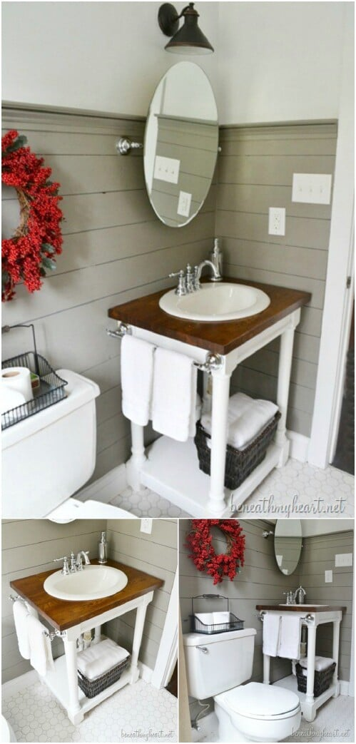 Sewing Machine Table Repurposed Vanity