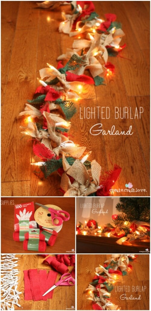 Lighted Burlap Garland