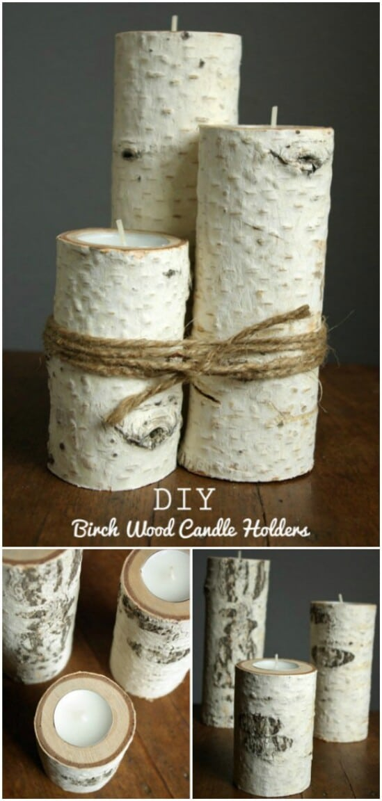 DIY Birchwood Candle Holders