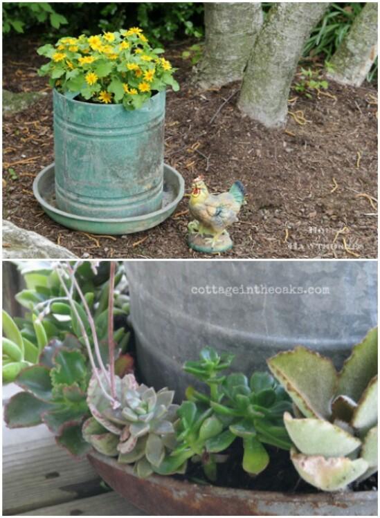 Repurposed Chicken Feeder Planter
