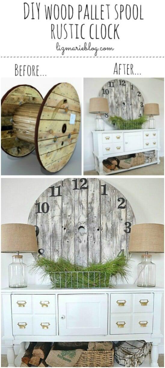 Reloj de carrete de paleta de madera DIY