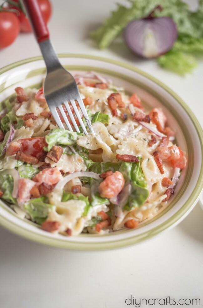 Finished BLT pasta salad close up.