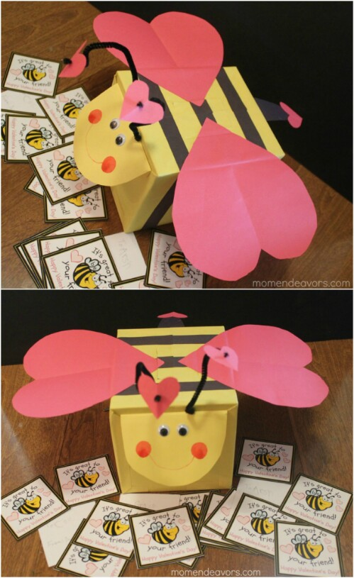 Bee My Valentine Mailbox - 20 Adorable And Easy DIY Valentine's Day Projects For Kids