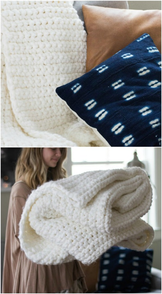 Easy Crocheted Chunky Blanket