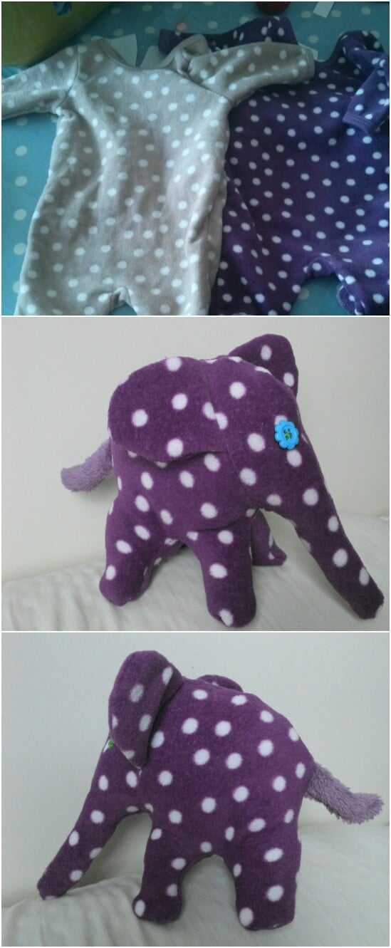 Onesie Polka Dot Elephant - 20 Adorably Creative Upcycling Projects To Repurpose Old Baby Clothes