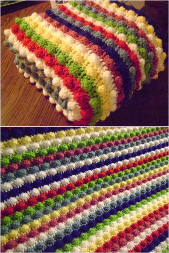 Blackberry Salad Striped Afghan