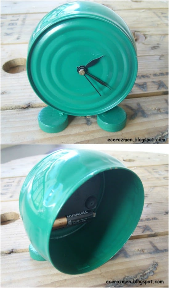 Tuna Can Clock - 20 Frugally Genius Ways To Upcycle Empty Tuna Cans