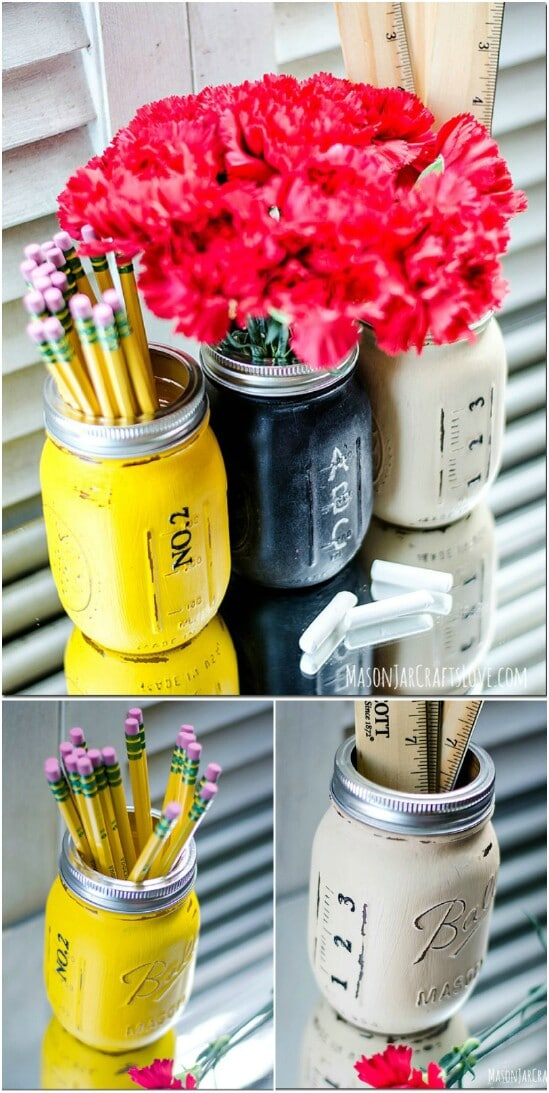 Back To School Organizing Jars - 30 Mind Blowing DIY Mason Jar Organizers You'll Want To Make Right Away