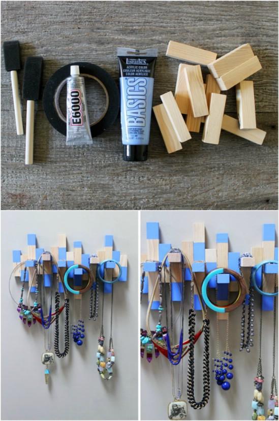 Jenga Board Necklace Rack
