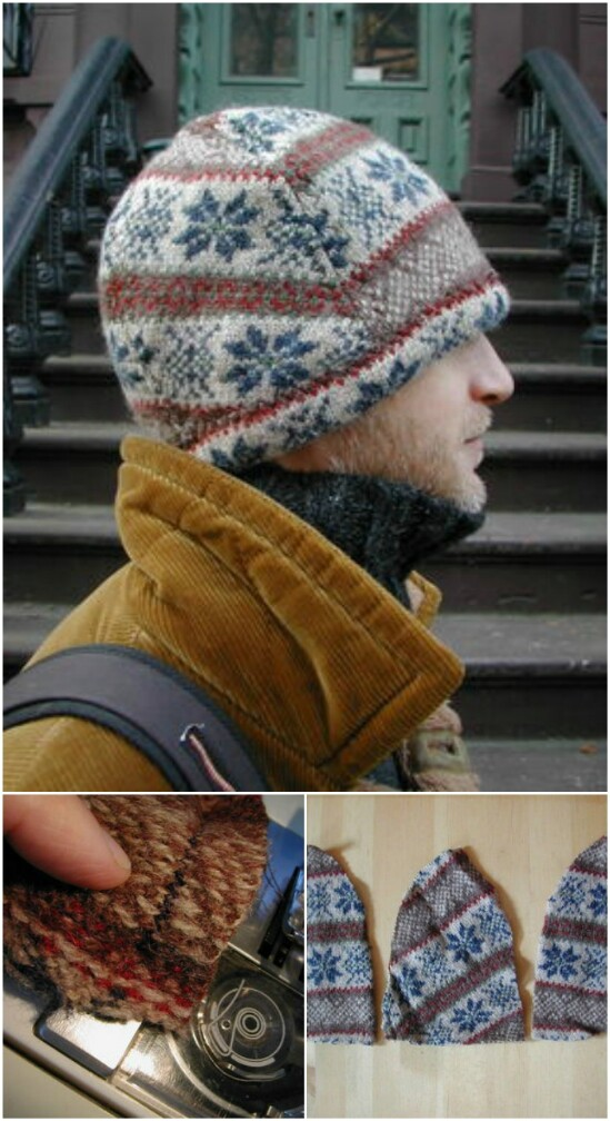 Sweater Hat - 50 Amazingly Creative Upcycling Projects For Old Sweaters
