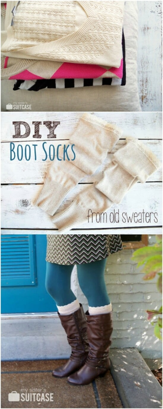 DIY Boot Socks - 50 Amazingly Creative Upcycling Projects For Old Sweaters