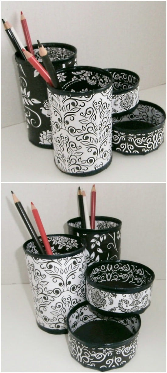 Desk Organizers - 20 Frugally Genius Ways To Upcycle Empty Tuna Cans