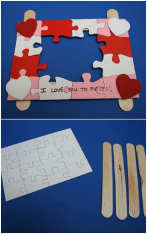 Picture Holder - 20 Adorable And Easy DIY Valentine's Day Projects For Kids