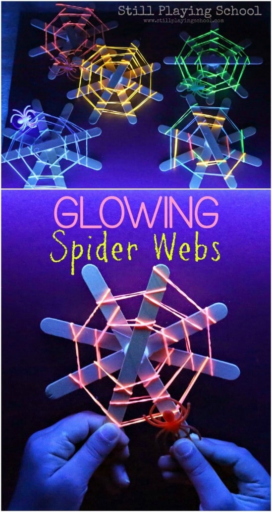 Glowing Spider Webs - 25 Amazingly Fun Glow In The Dark DIY Projects For Kids
