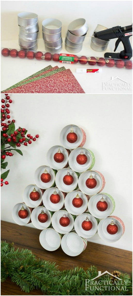 Ornament Tree - 20 Frugally Genius Ways To Upcycle Empty Tuna Cans