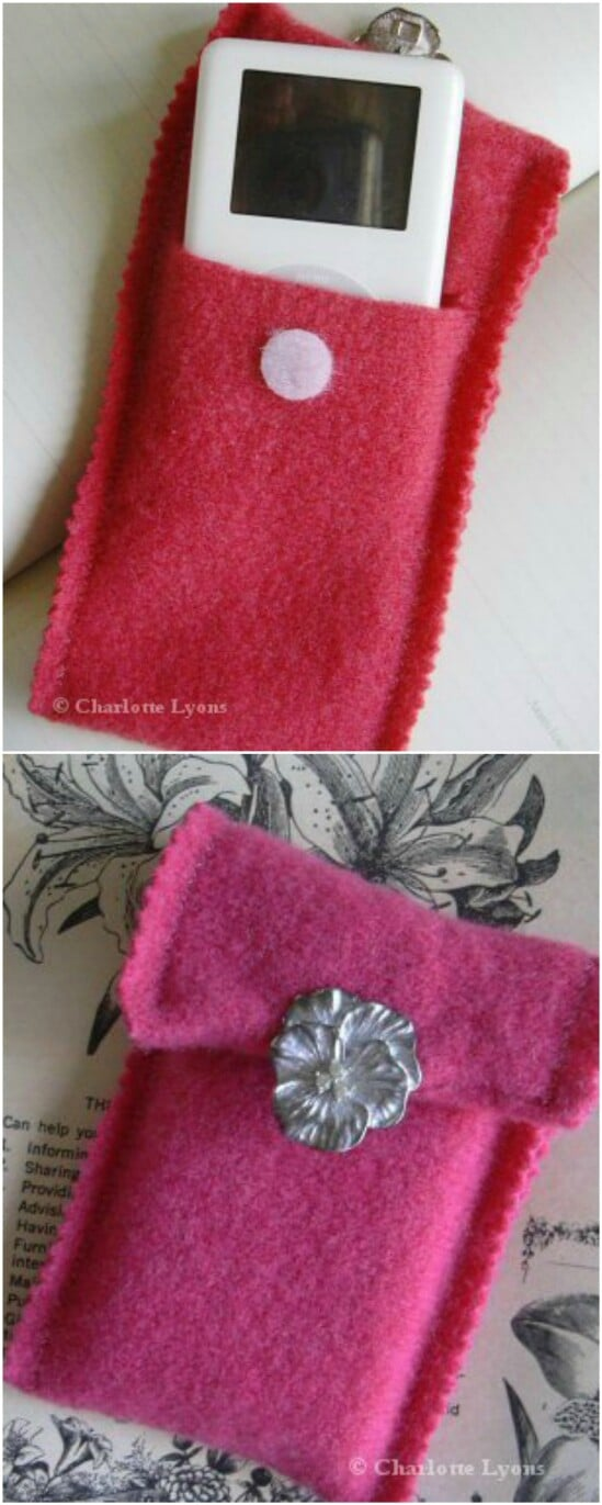 Cozy iPod/Smartphone case - 50 Amazingly Creative Upcycling Projects For Old Sweaters