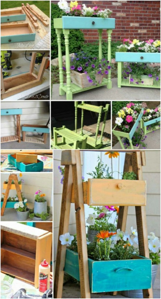 Upcycled Drawer Planters