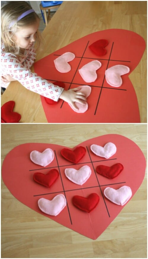 Tic Tac Toe Hearts - 20 Adorable And Easy DIY Valentine's Day Projects For Kids