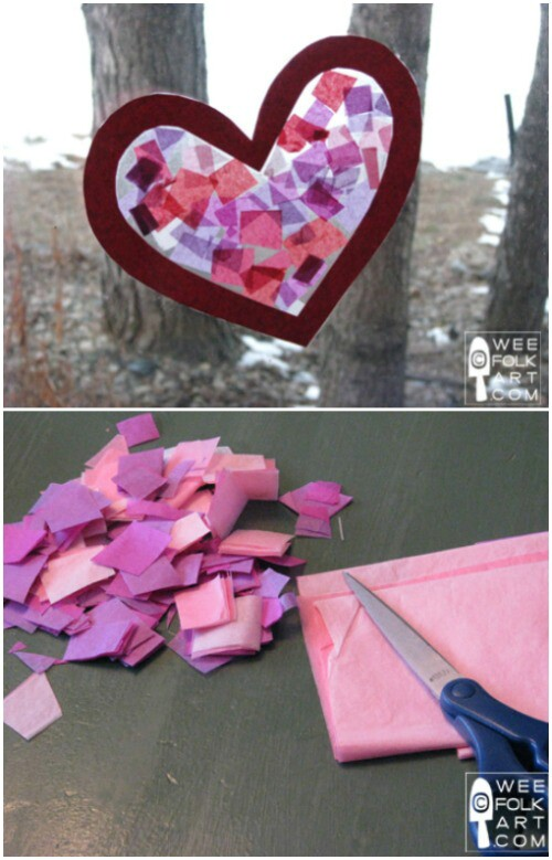 Tissue Paper Stained Glass Heart - 20 Adorable And Easy DIY Valentine's Day Projects For Kids