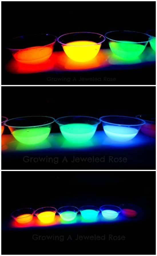 Glowing Rainbow Water - 25 Amazingly Fun Glow In The Dark DIY Projects For Kids