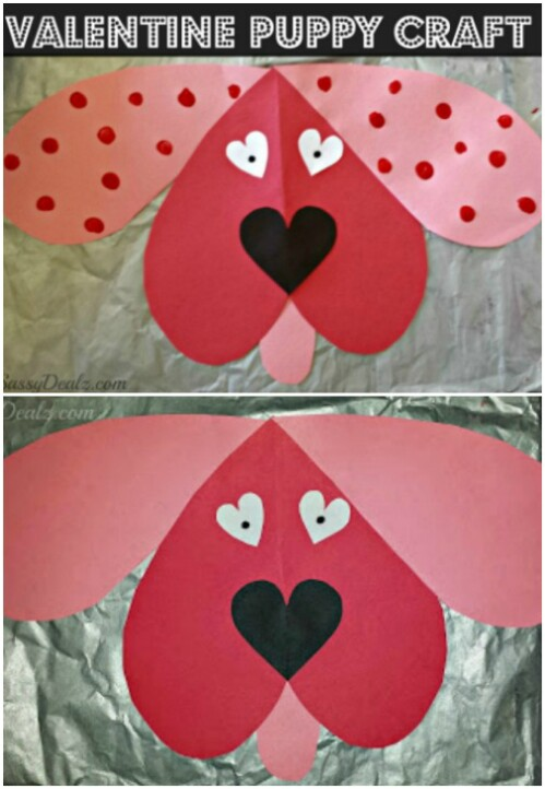 Valentine Puppies - 20 Adorable And Easy DIY Valentine's Day Projects For Kids