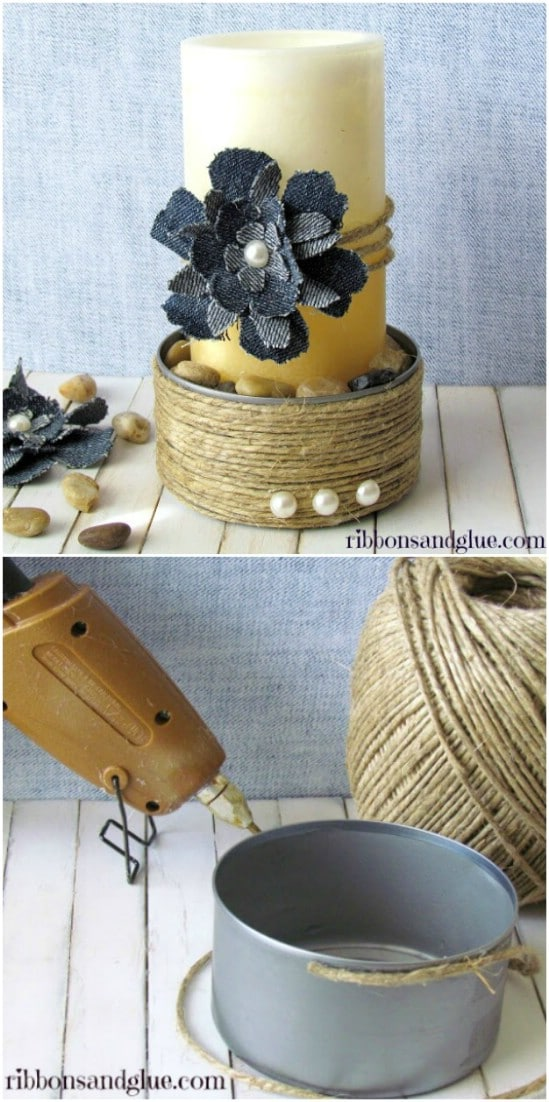 Shabby Chic Candle Holder - 20 Frugally Genius Ways To Upcycle Empty Tuna Cans