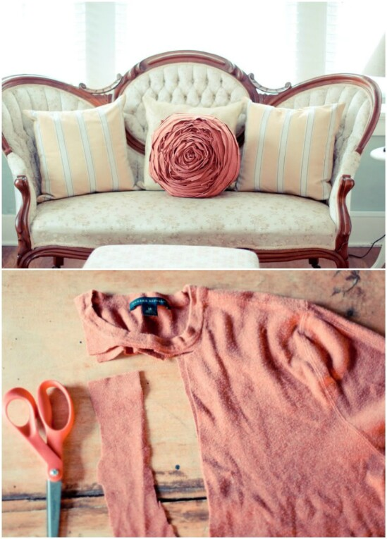 Flower Sweater Pillow - 50 Amazingly Creative Upcycling Projects For Old Sweaters