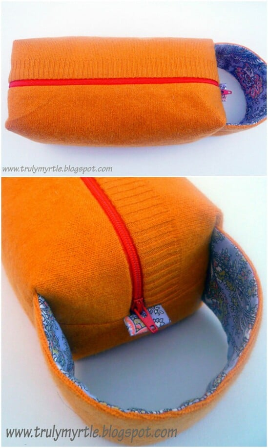 Sweater Box Bag - 50 Amazingly Creative Upcycling Projects For Old Sweaters