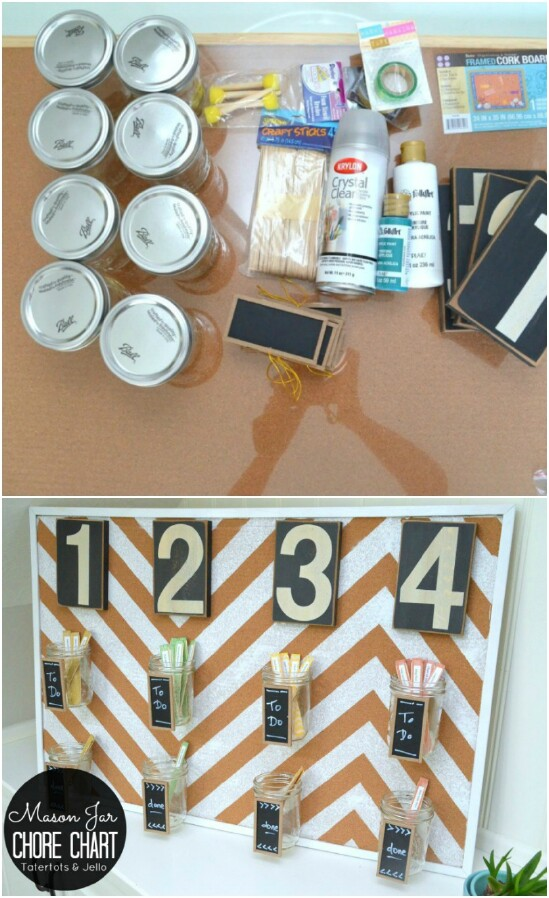 DIY Chore Chart - 30 Mind Blowing DIY Mason Jar Organizers You'll Want To Make Right Away