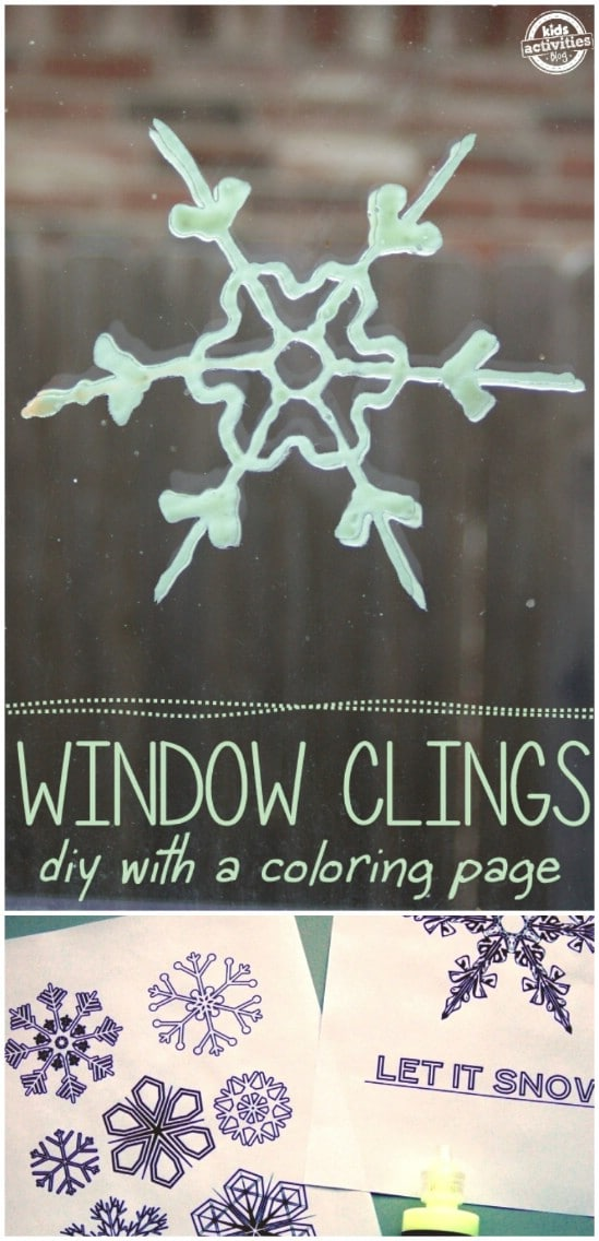 Glowing Winter Window Clings - 25 Amazingly Fun Glow In The Dark DIY Projects For Kids