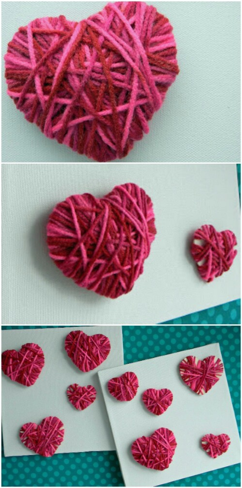 Yarn Wooden Hearts - 20 Adorable And Easy DIY Valentine's Day Projects For Kids