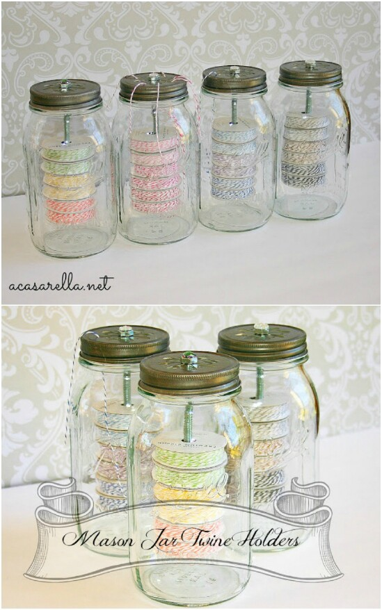 Twine Organizer And Dispenser - 30 Mind Blowing DIY Mason Jar Organizers You'll Want To Make Right Away