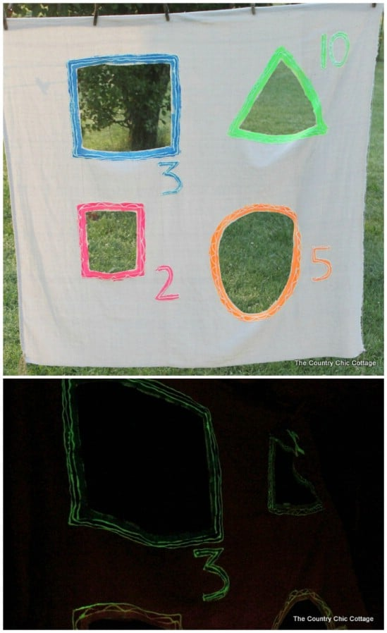 Glowing Yard Game - 25 Amazingly Fun Glow In The Dark DIY Projects For Kids