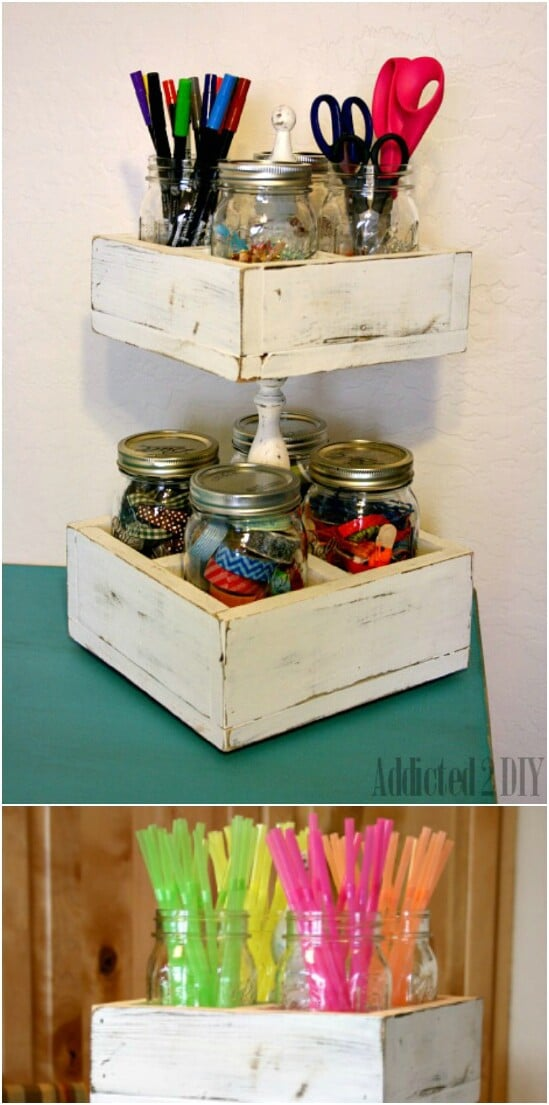 Double Decker Craft Caddy - 30 Mind Blowing DIY Mason Jar Organizers You'll Want To Make Right Away
