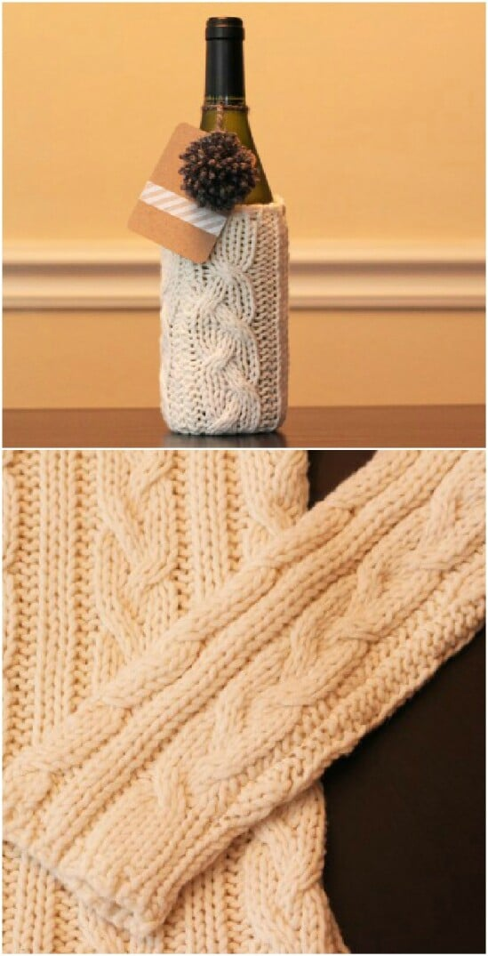 Winter Wine Bottle Wrap - 50 Amazingly Creative Upcycling Projects For Old Sweaters
