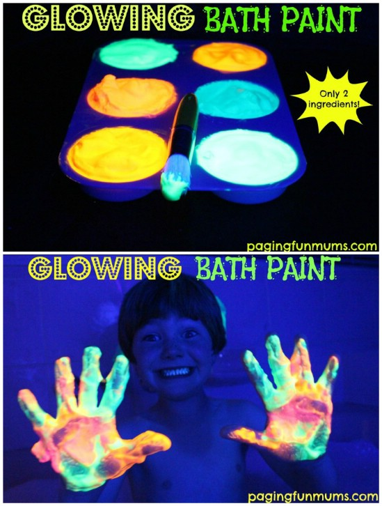 Glow In The Dark Bath Paint - 25 Amazingly Fun Glow In The Dark DIY Projects For Kids