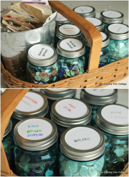 Button Organizing Jars - 30 Mind Blowing DIY Mason Jar Organizers You'll Want To Make Right Away