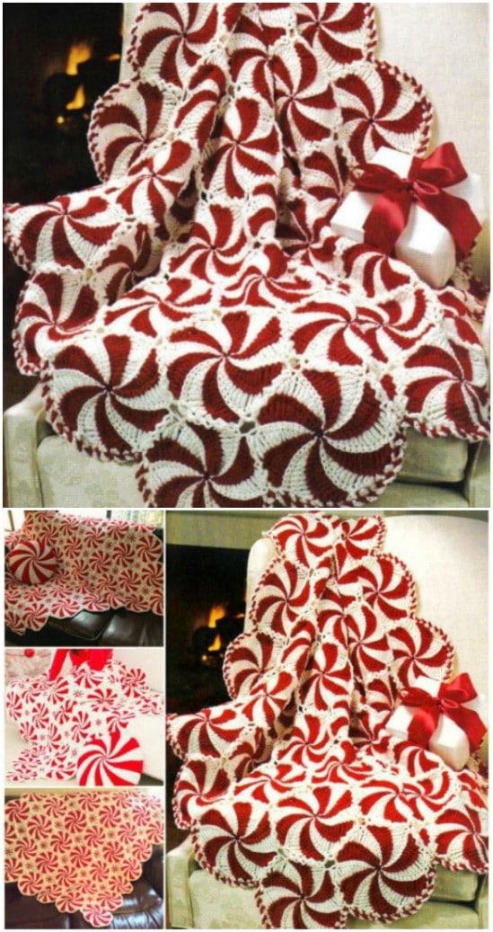 Crochet Peppermint Swirl Afghan