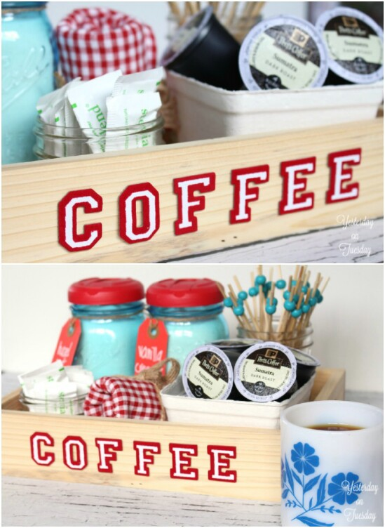 Coffee Station Creamer Jars - 30 Mind Blowing DIY Mason Jar Organizers You'll Want To Make Right Away