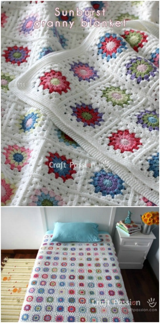 Sunburst Granny Square Blanket