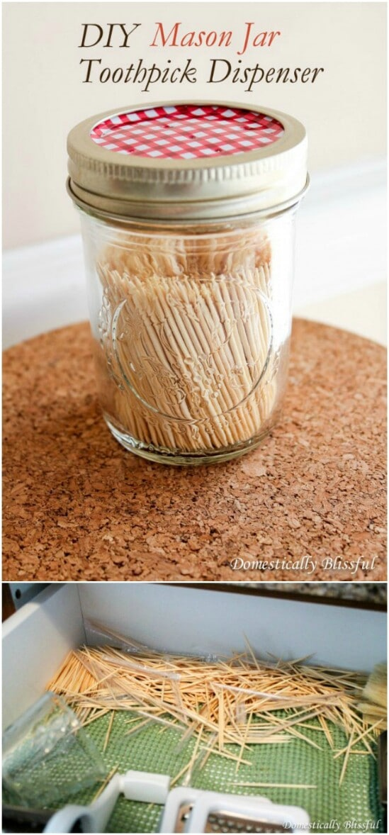 Toothpick Dispenser - 30 Mind Blowing DIY Mason Jar Organizers You'll Want To Make Right Away