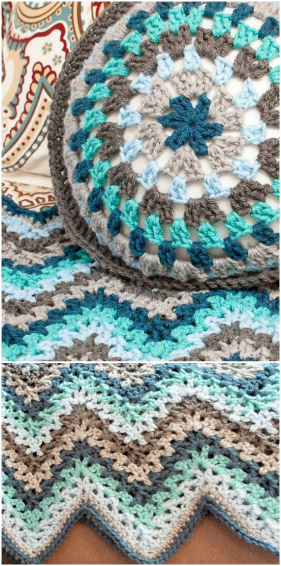 V-Stitch Crochet Ripple Afghan