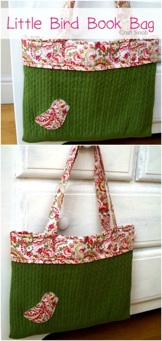 Bird Book Bag - 50 Amazingly Creative Upcycling Projects For Old Sweaters