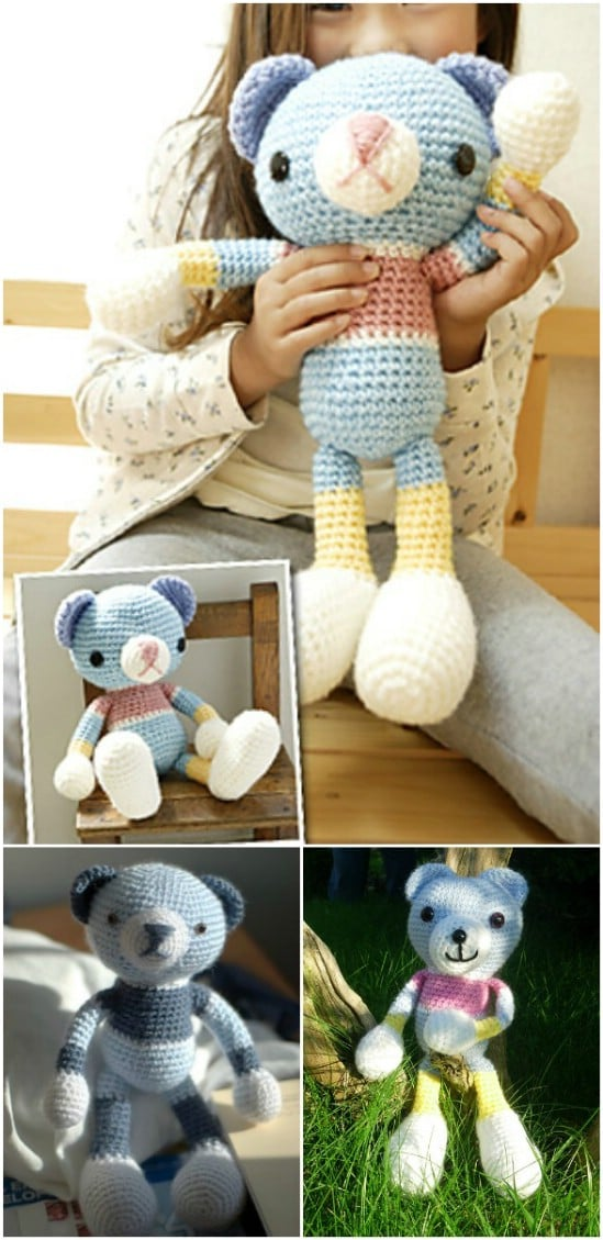 Free Amigurumi Bear Toy Softies Crochet Patterns | 1129x549