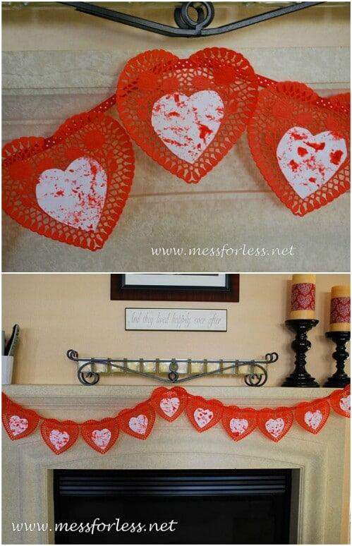 Doily Banner - 20 Adorable And Easy DIY Valentine's Day Projects For Kids