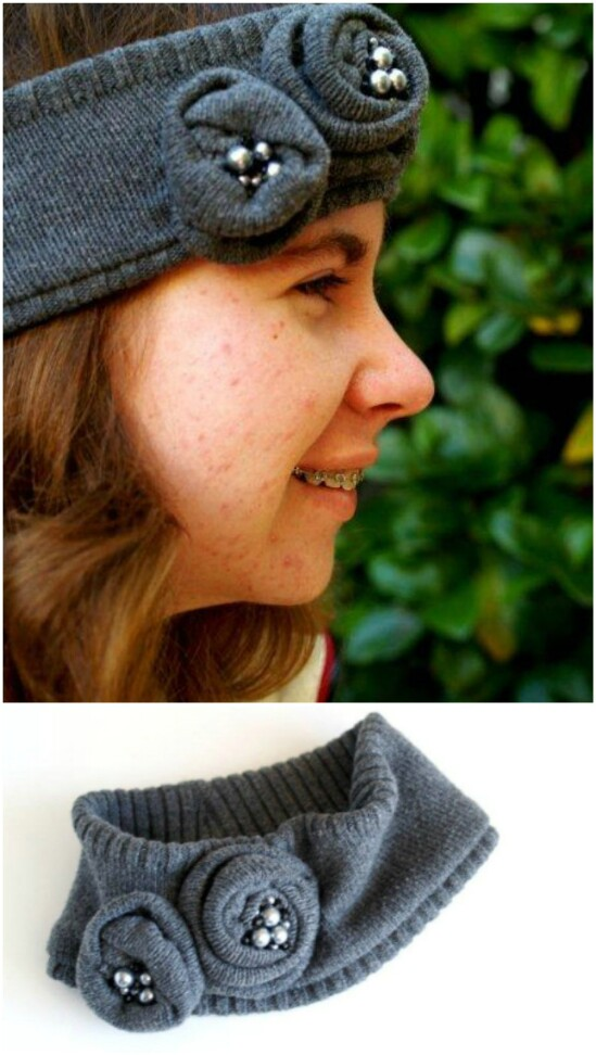 Anthropologie Head Wrap Knockoff - 50 Amazingly Creative Upcycling Projects For Old Sweaters