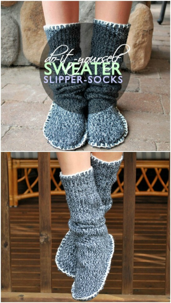 DIY Sweater Slipper Socks - 50 Amazingly Creative Upcycling Projects For Old Sweaters
