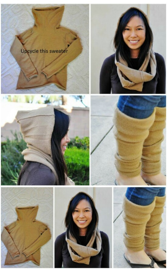 DIY Scarf And Leg Warmers - 50 Amazingly Creative Upcycling Projects For Old Sweaters